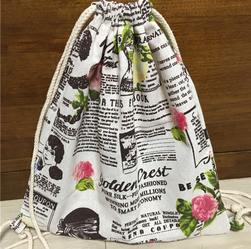 canvas drawstring bag backpack english newspaper printed