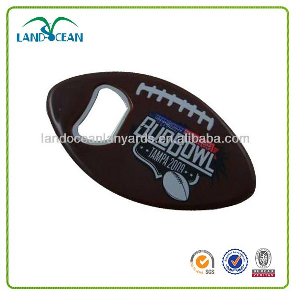 2014 cheap metal American football rugby ball keychain opener