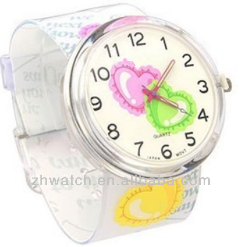 change jelly plastic watch face and pvc strap