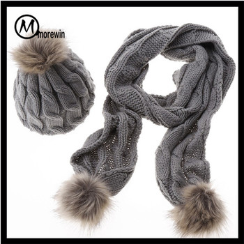 Women Winter Knitted Hat Scarf Gset Knitted Hat Gloves Scarves Sets ... 552ba286acc