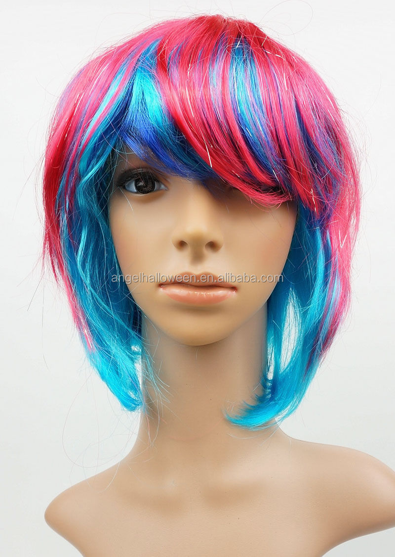 Adult Ladies Punk Pixie Neon Gothic Cosplay Wig Fancy Dress Costume Accessory