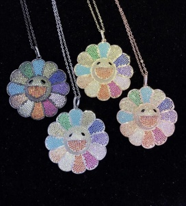 CZ-PM0265 wholesale micro pave AAA grade Cubic zirconia CZ pendant, lovely colorful happy flower face pendant charms