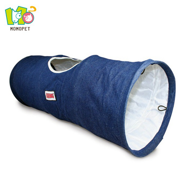 Blue denim fabric cat retractable tunnel mole trap