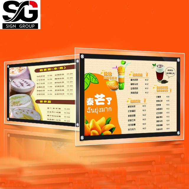 Custom crystal LED light box acrylic led menu price list display light box for bar restaurant