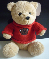 2015Hot Selling lovely teddy bear with red clothes for wholesale