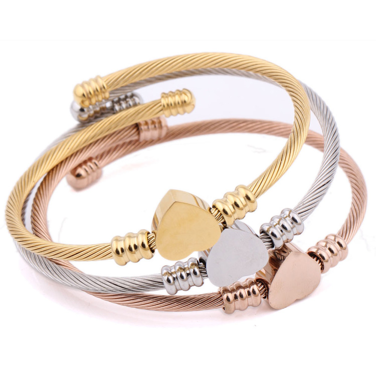 China wholesale women fashion braided cable heart shape 316 stainless steel cuff rose gold bangle bracelet