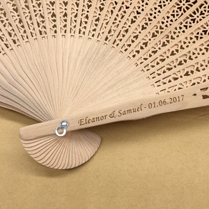 Customized Personalized Name And Date Elegant Folding Wood Hand Wedding Fan