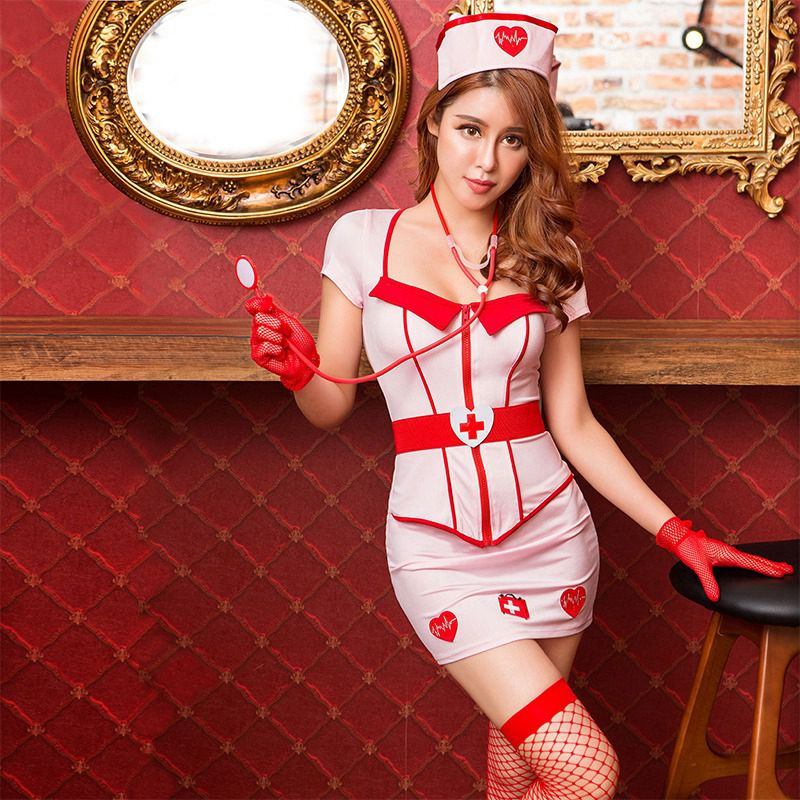 Just 1 Set Women Cosplay Erotic Lingerie Sexy Red Bow Bra+flounce Skirt Sexy Nurse Uniform Costumes Lingerie Hot Babydolls & Chemises