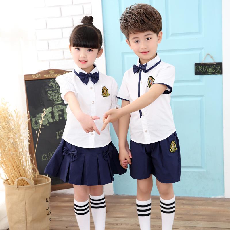 c03d2143b8cae Custom uniforme escolar primaria patrones Japón School Girl sexy foto  verano blanco camisetas y pantalones azules