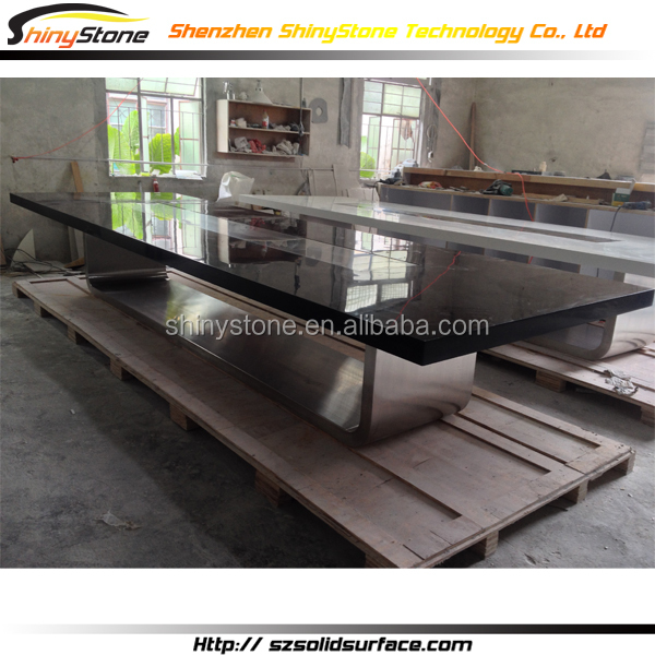 Contemporary Meeting Room Artificial Stone Conference Table Cable Management