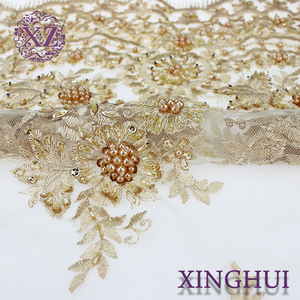 Royal luxurious pearl design embroidery handwork beaded lace fabric