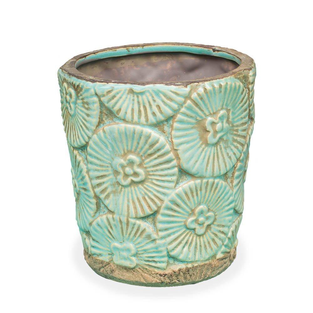 Ceramic Planter Pot, Tropical Flower Vase, 6.5 inch, Weathered Beach Wedding Centerpiece, Nautical Restaurant Table Decor, (Teal Blue), (2 Pack)