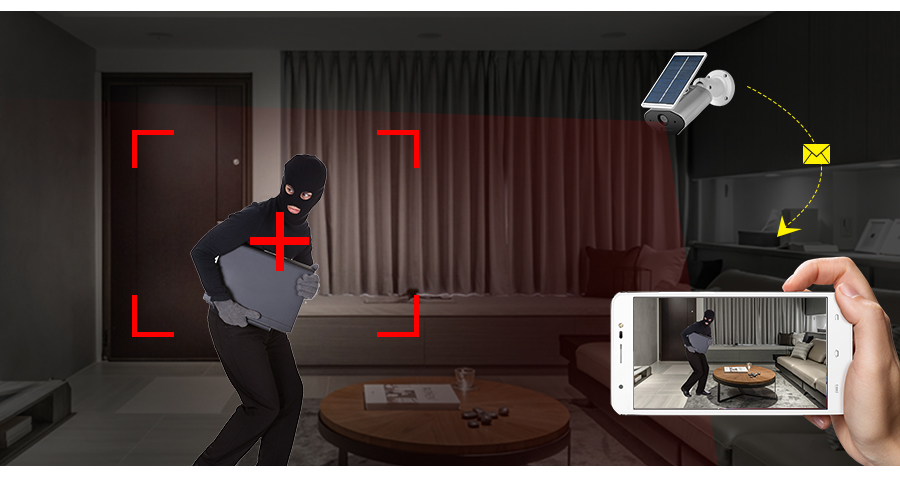 FUERS 960P HD Wireless Solar Camera WiFi IP Outdoor Waterproof Security Solar Powered CCTV  Camera