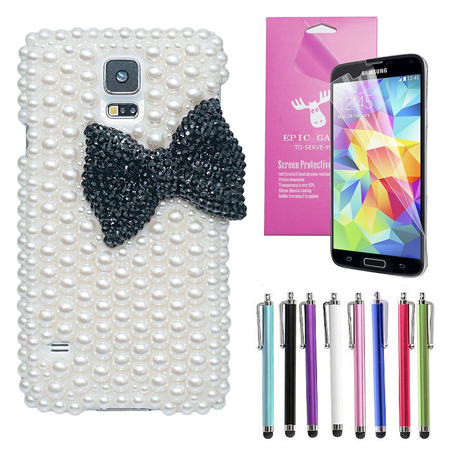 EpicGadget(TM) Luxury Handmade 3D Bling White Pearl Black Ribbon Bow Knot Case Cover For Samsung Galaxy S5 i9600 + Screen Protector + 1 Stylus (Random Color) (US Seller!!) (Black Pearl Bow Knot Case)