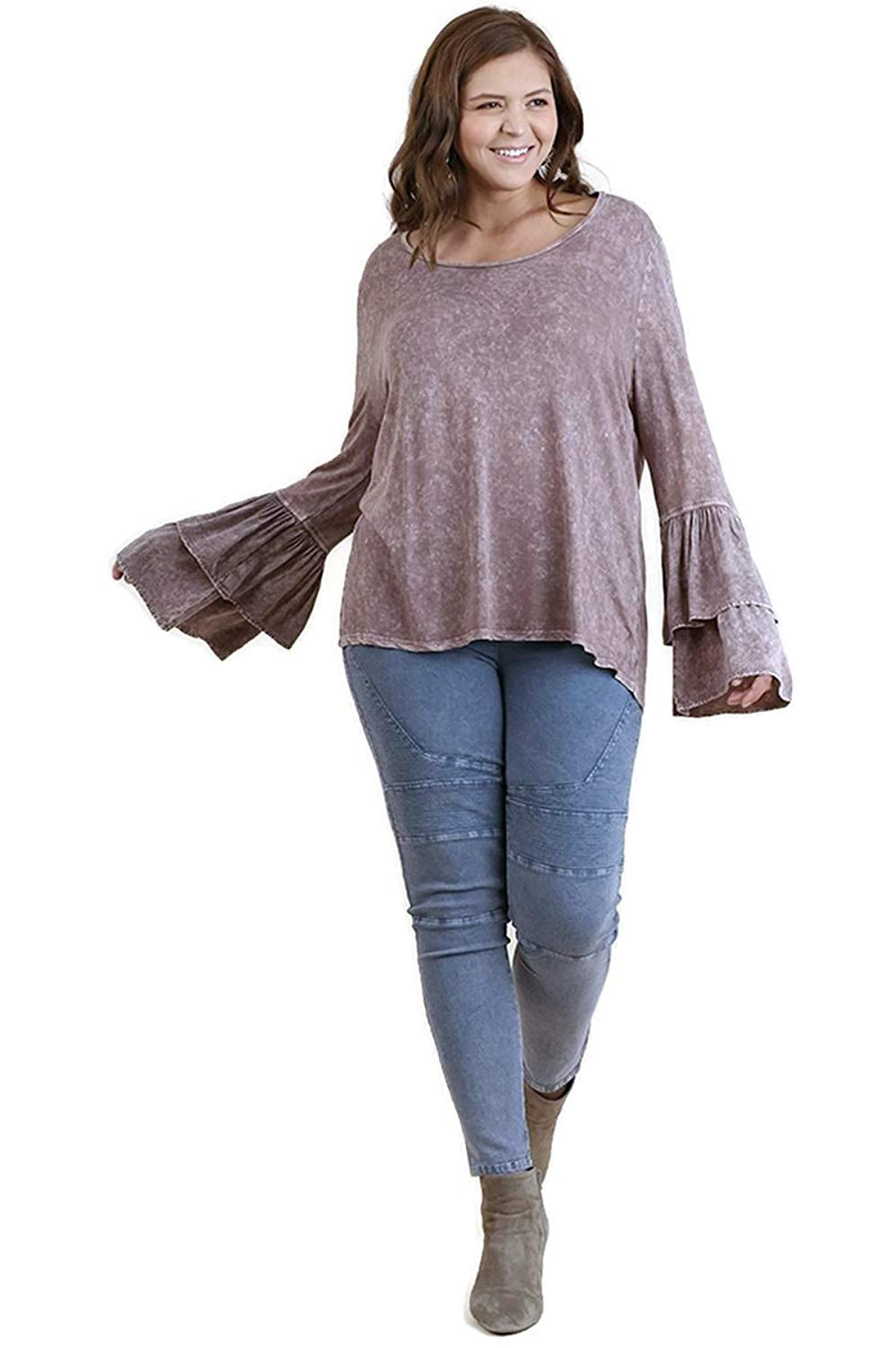 Umgee Women's Mineral Washed Layered Ruffled Bell Sleeve Tunic Top Plus Size