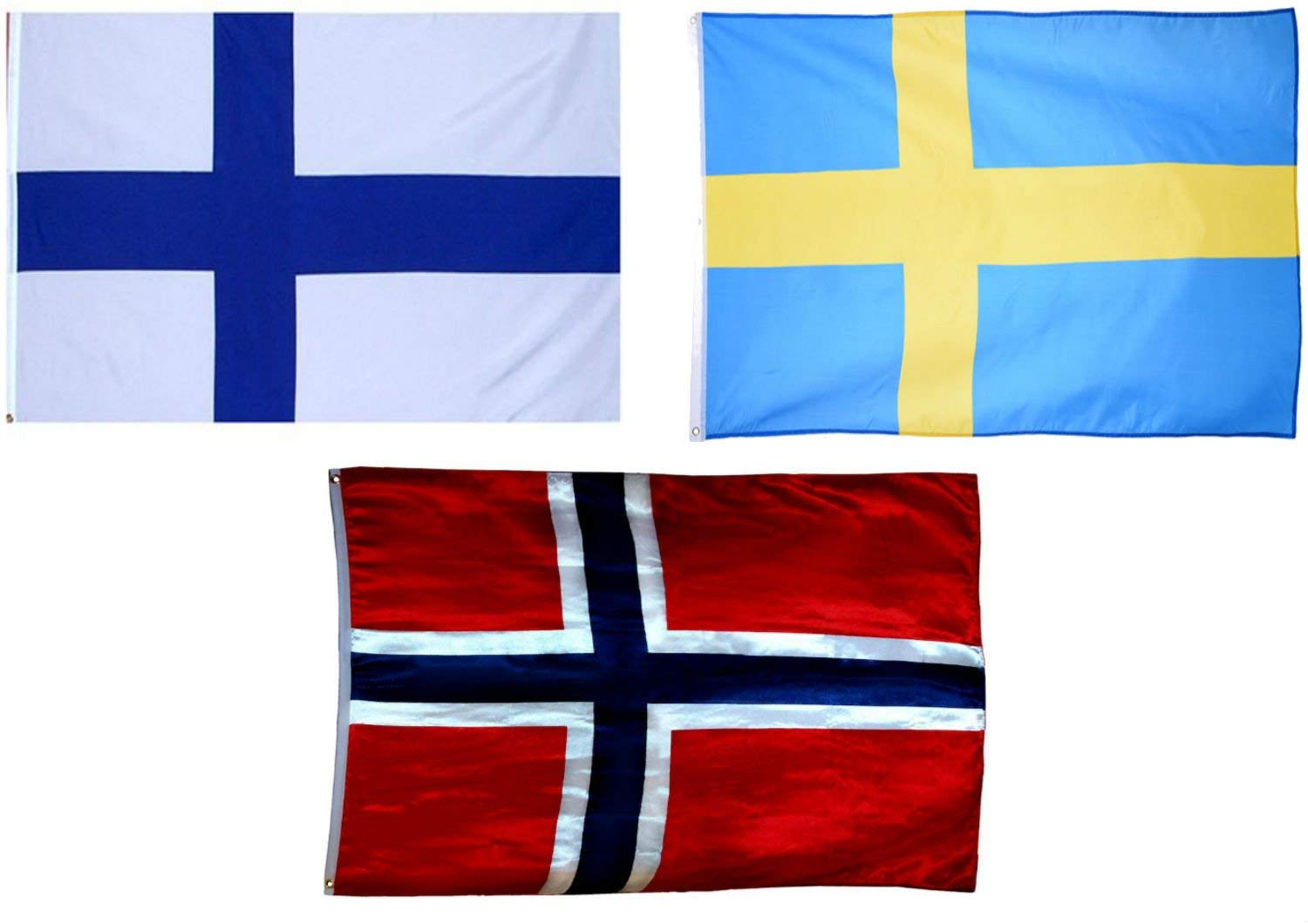 Wholesale Combo (3) Three Scandinavian Friendship 3x5 3'x5' Wholesale Combo Set Finland & Norway & Sweden Flags Brass Grommets Double Stitching UV Resistant.