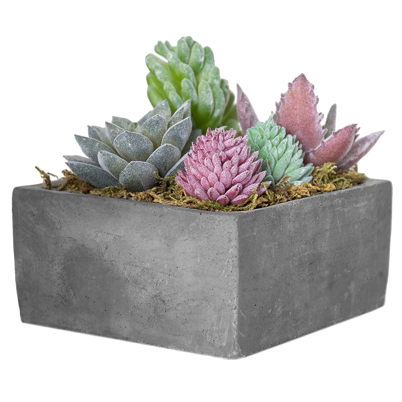 MyGift Faux Succulent Plant Arrangement in Square Gray Clay Planter