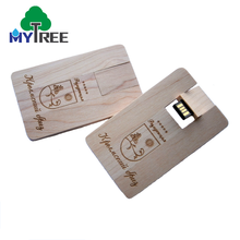 Eco-Friendly Customized Logo Pattern Bussiness Gift Wooden Credit Card Style Ultra Thin Usb Flash Drives Usb With Custom Logo