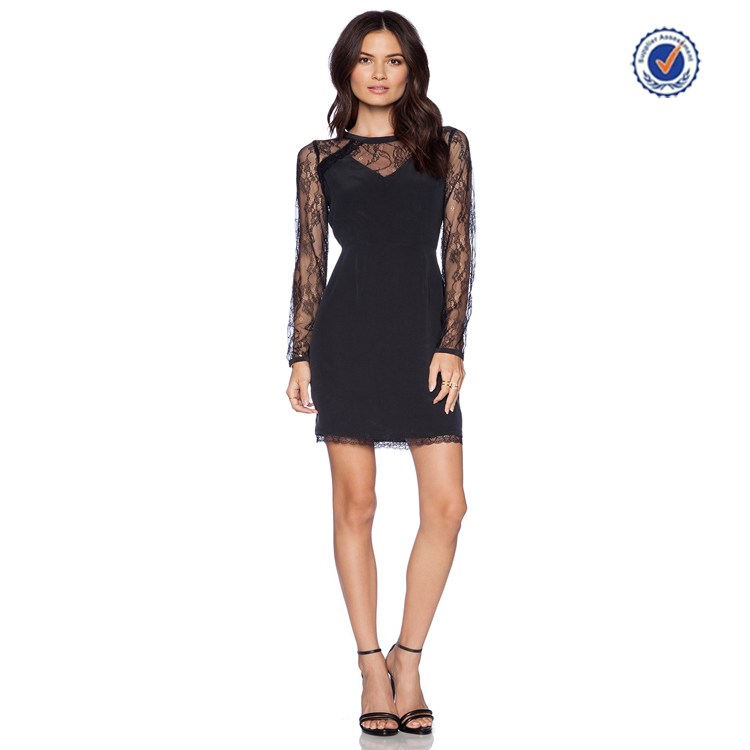 Long sleeve black lace shery t-shirt dress lace celebrity dresses for women