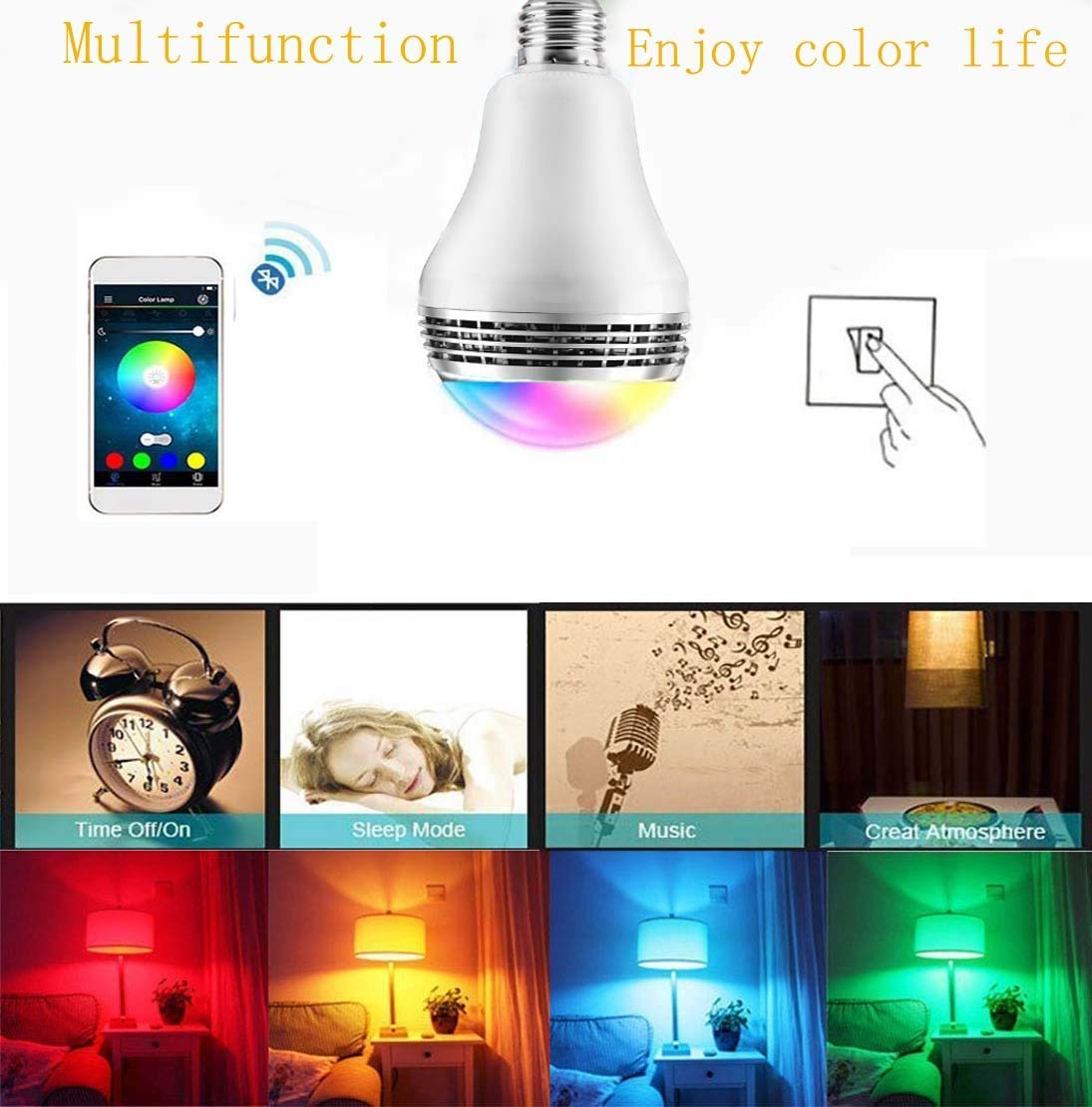 E27 7W RGBW LED music bulb speaker- multi-color changing  connected by Bluetooth