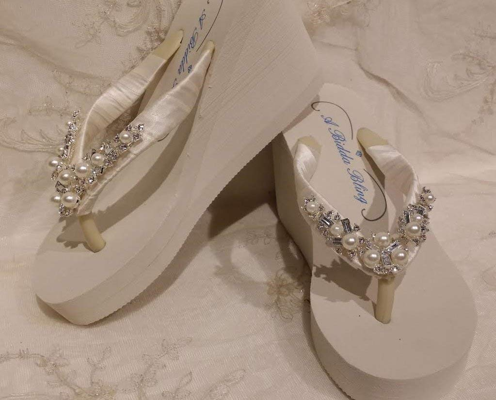 318ec9532 Get Quotations · Ivory Flip Flops with Pearl and Crystal Design
