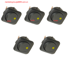 5 X 25mm Car Round yellow LED Light Rocker Toggle Switch 12V 25A Board Sales