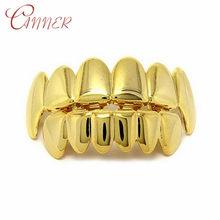Набор золотых зубцов CANNER в стиле хип-хоп, набор зубных имитаторов с верхними и нижними зубцами(Китай)