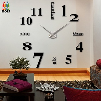 moza d coration horloges murales grande num rique miroir. Black Bedroom Furniture Sets. Home Design Ideas
