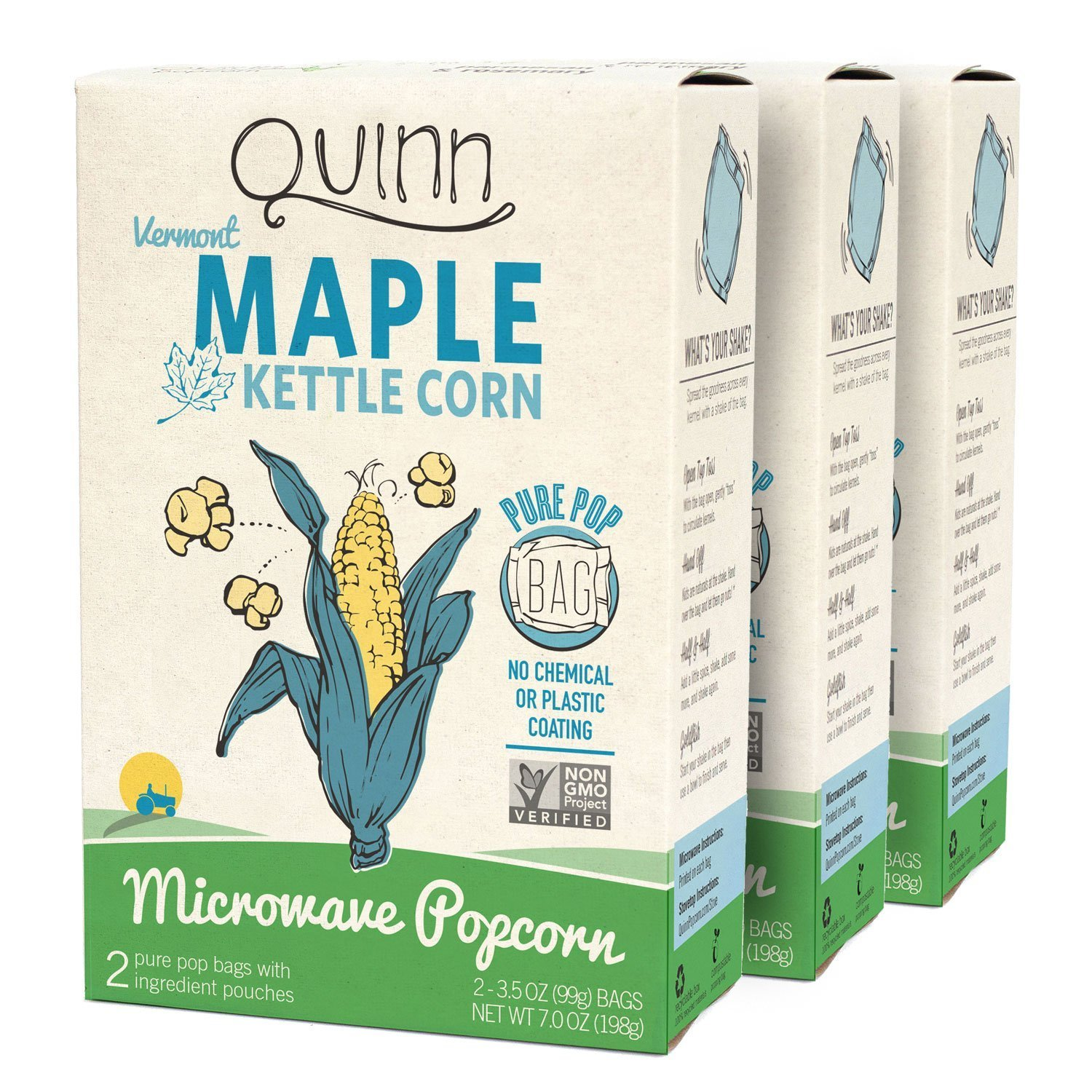 Quinn Snacks Microwave Popcorn - Made with Organic Non-GMO Corn - Great Snack Food for Movie Night, Maple Kettle Corn, 7 Ounce (Pack of 3)