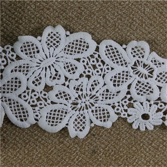 Flower crochet milk silk chemical lace embroidery white wedding lace bridal