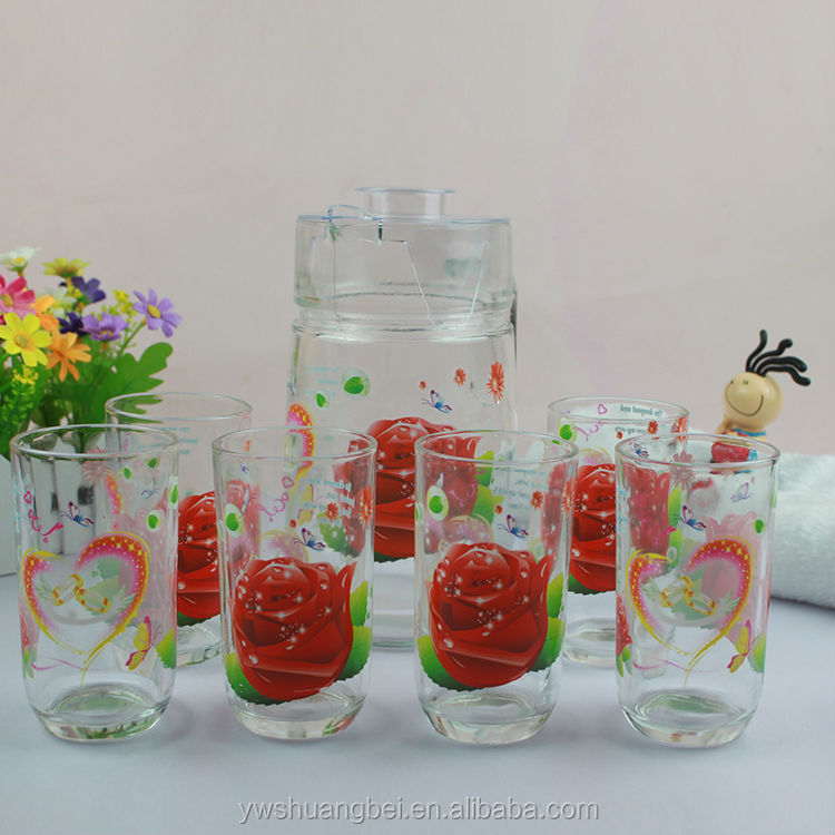 Handmade Glass Cup And Jug Set Printed Set Cups Glass Water ...