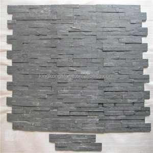 Natural black exterior decoration stone split slate wall covering panel