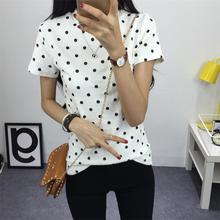 2016 Women's Summer T-Shirt Clothes Shirt O-neck Polka Dotted Short Tops Bottoming Tops Free Shipping