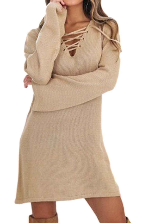 934b8e3a352 Get Quotations · Women Elegant Deep V Neck Autumn Long Bell Sleeve Vintage  Lace up Tunic Shirts Sweater Dress