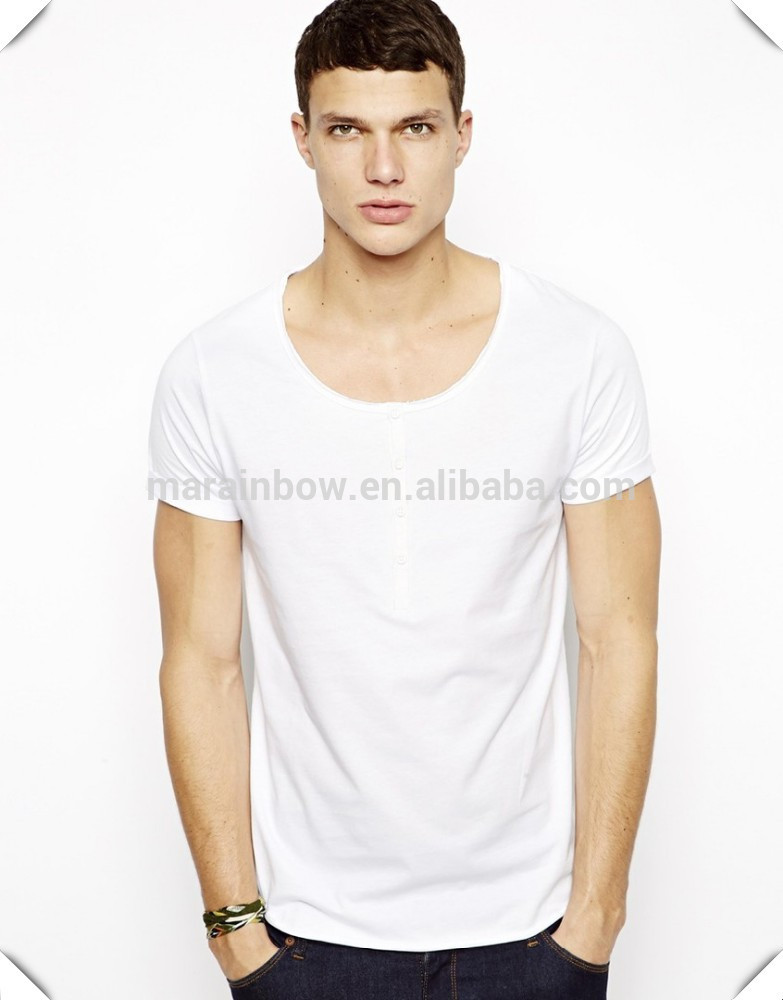Men S Fashion Wide Scoop Neck White Tee Wholesale Cheap White T