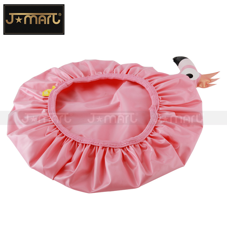Reusable Customized Novelty Cartoon Pink Flamingo Figure Vinyl Plastic Waterproof Bath Baby Shower Cap for Children Shampoo Fun
