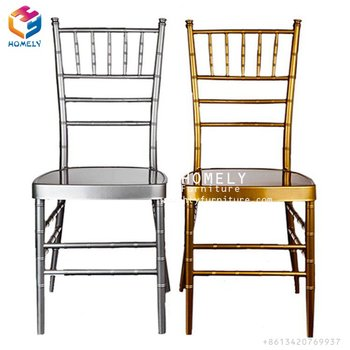 Wholesale Cheap Used Stacking Hotel Banquet Gold Silver Wedding Tiffany Chairs Iron Aluminum Metal Chiavari