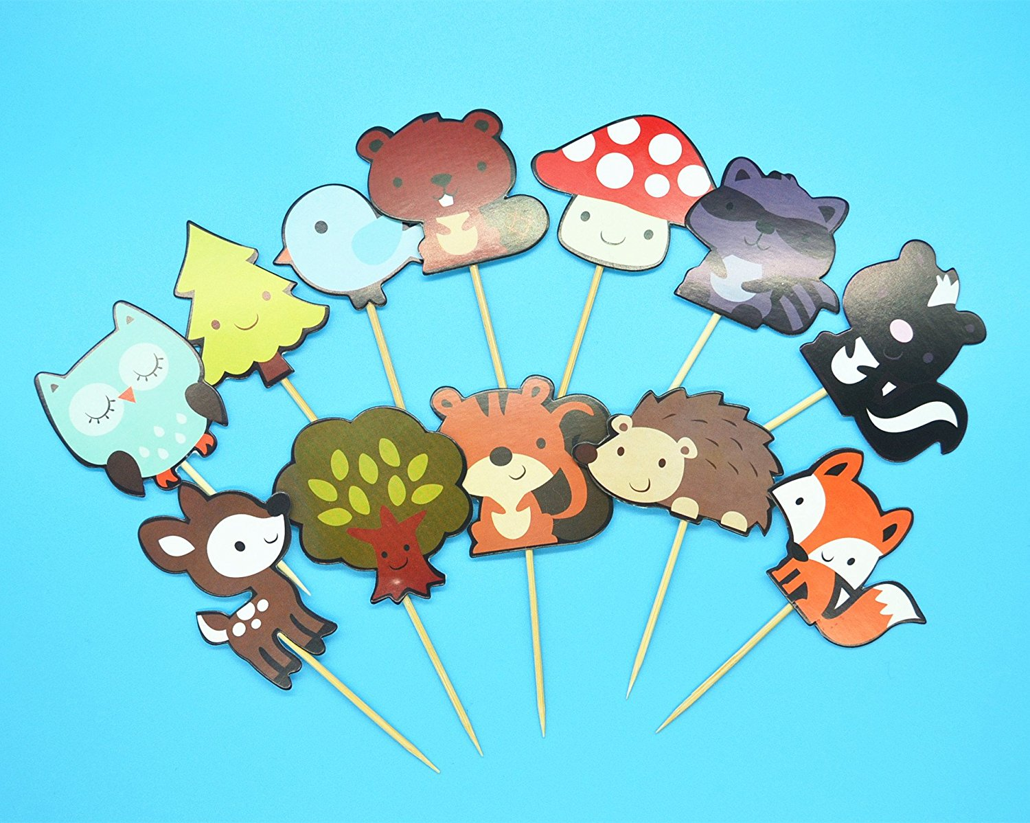 Cute Woodland Creatures Theme Cupcake Toppers Picks, 24 Pieces/Pack Forest Animals Friends Cake Toppers, Kids Woodland Theme Birthday Party Baby Shower Cake Decoration