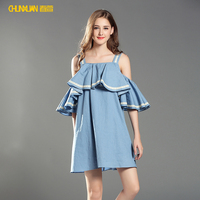 2018 newest loose casuals sleeveless ladies elegant denim dress