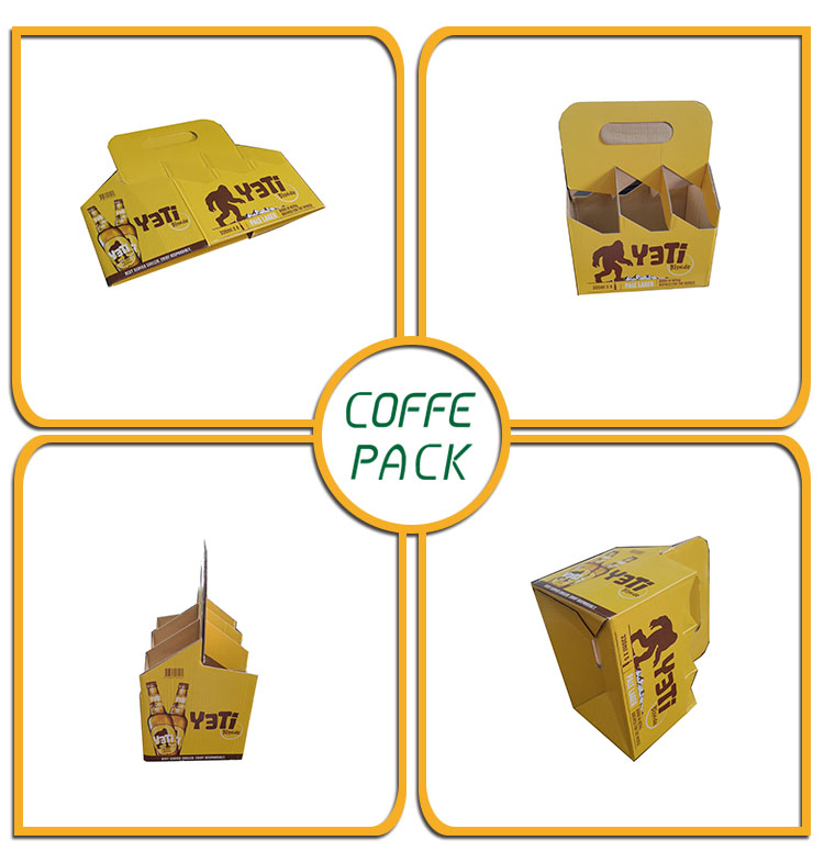 Di alta qualità 400 gsm kraft carta six pack birra carrier box