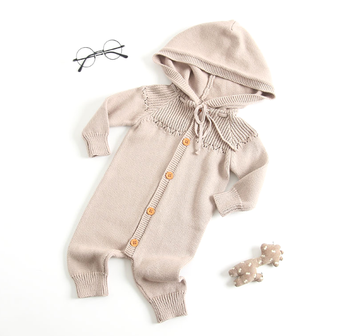 High Quality Baby 100% cotton Sweater Baby Rompers with hoodie