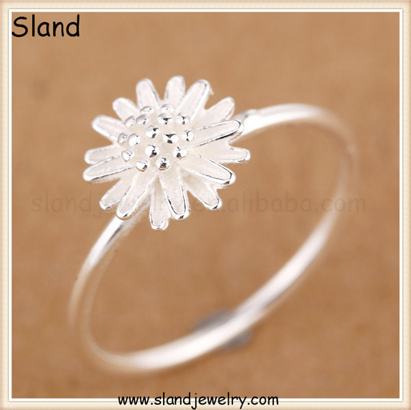 GZ Sland Jewelry 2016 new design Daisy charm 925 sterling silver flower ring - wire type flower dome rings jewellery