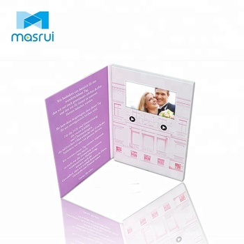 Promotional 4.3 5 7 inch video brochure digital lcd screen wedding invitation card for business