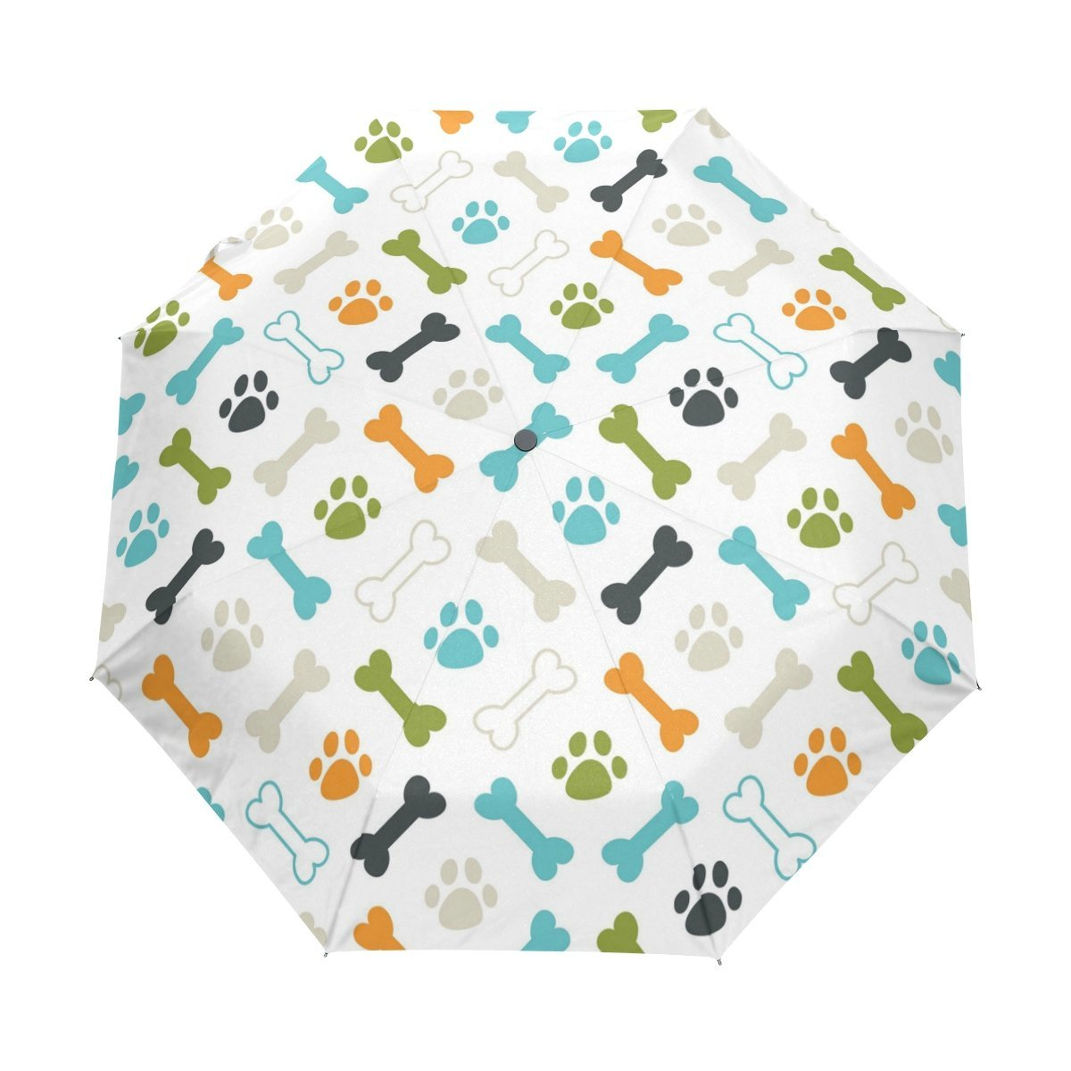 WOZO Puppy Dog Paw Bone 3 Folds Auto Open Close Umbrella
