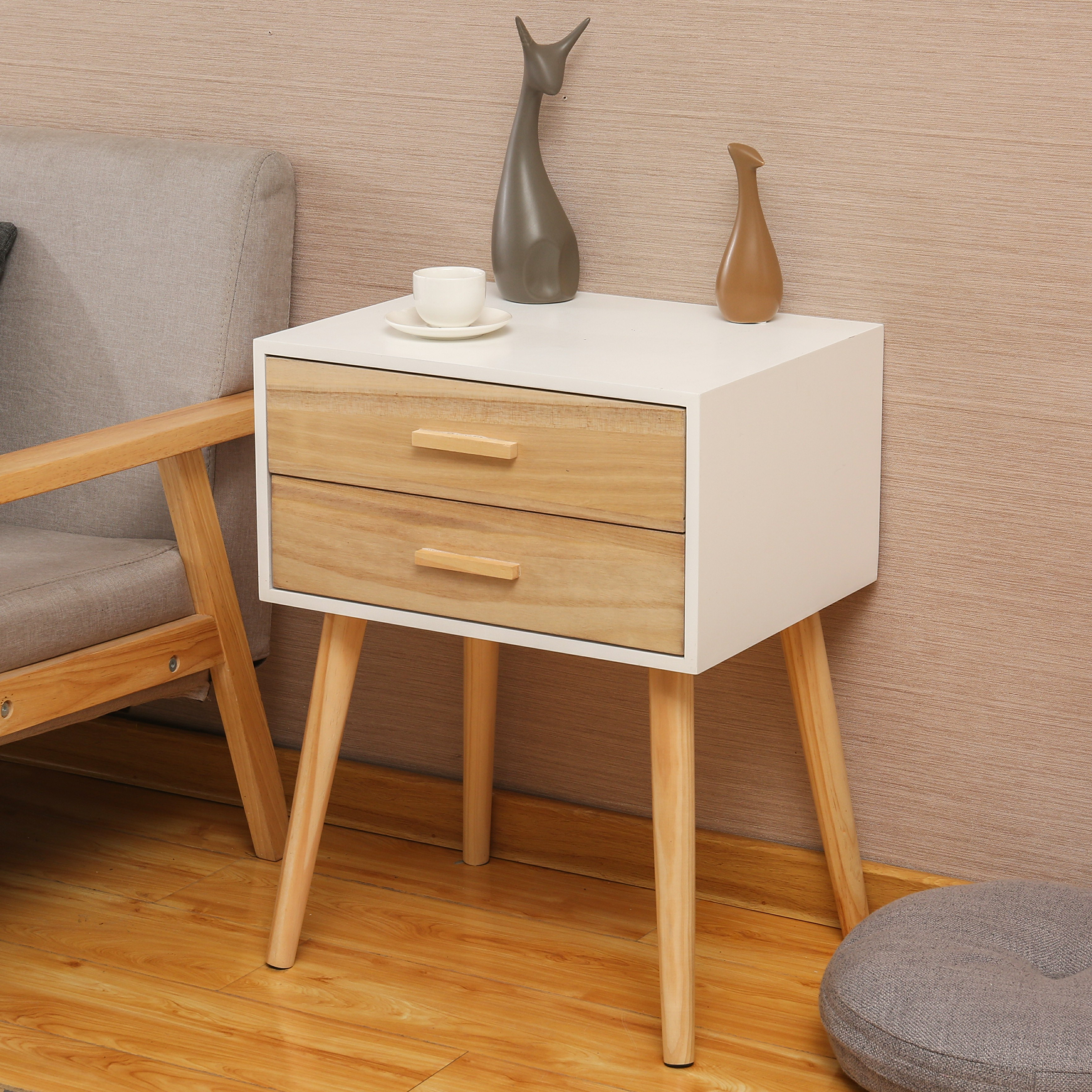 modern bedroom furniture solid wood pine bedside table with 2 drawers, View  pine bedside table, JMF Product Details from Yantai JMF Sport Products ...