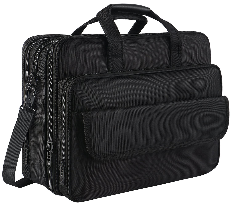 17 inch Laptop Bag, Expandable Large Capacity Briefcase for Women & Men, Oxford Nylon Fabric Computer Shoulder Bag, Water Resistant Durable Messenger Bag Fits 17.3 15.6 15 14 inch Laptop - Black