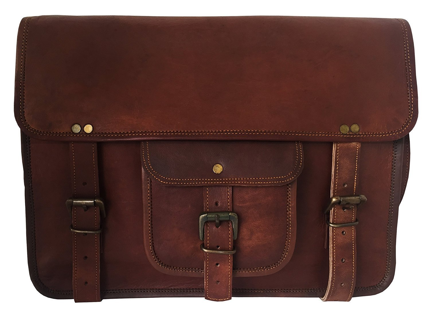 "HLC Vintage Leather Laptop Bag 15"" Messenger Handmade Briefcase Crossbody Shoulder Bag"