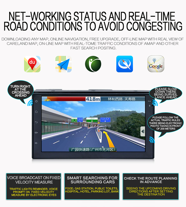 Lcd Touch Screen Android Double Din Audio Video Car Navigation System With  Rds Wifi Bluetooth 16g Storage Free Map Card - Buy Double Din Audio Video