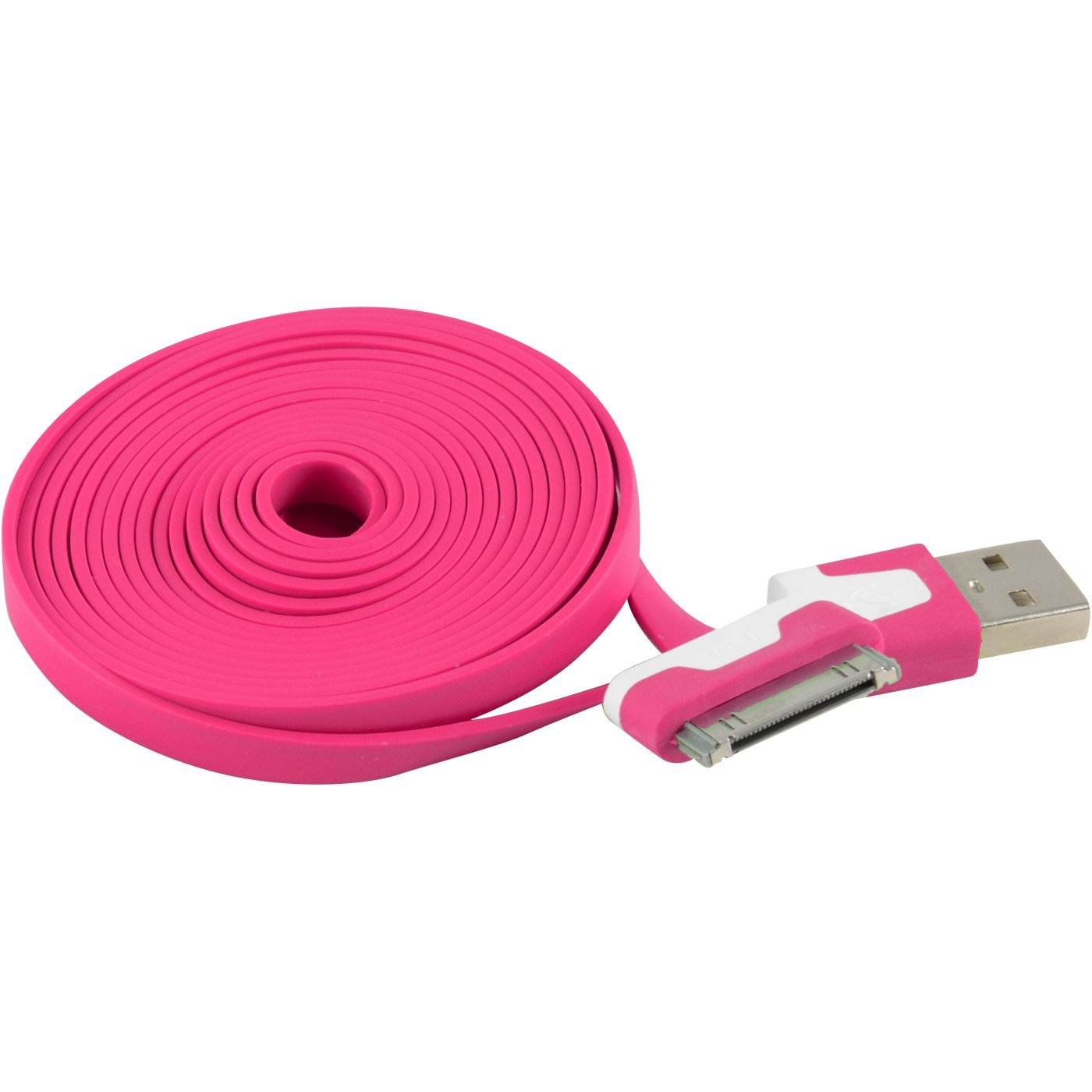 Extra Long 6 FT USB Data Sync Charging Cable for Apple iPhone 4, 4G, 4S, 3, 3G, 3GS; iPod Touch 4G, 3G (Hot Pink)
