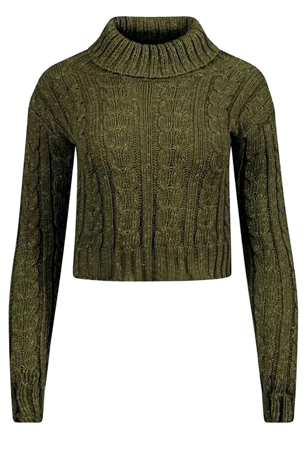 Rimi Hanger Womens Polo Neck Cable Knitted Crop Jumper Ladies Long Sleeve Fancy Sweater Top S, M, L